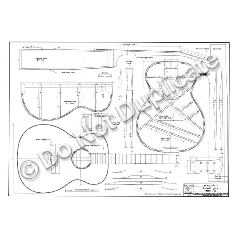 Plan 00 Style Guitar 14 Fret To Body
